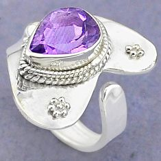 4.02cts solitaire natural amethyst 925 silver adjustable ring size 7 t8763