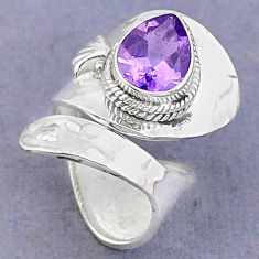 4.29cts solitaire natural amethyst pear 925 silver adjustable ring size 5 t8774