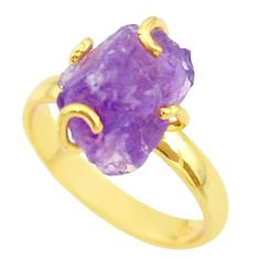 7.60cts solitaire natural amethyst rough 925 silver 14k gold ring size 9 t36863