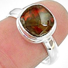 4.08cts solitaire natural ammolite (canadian) 925 silver ring size 7 t18848