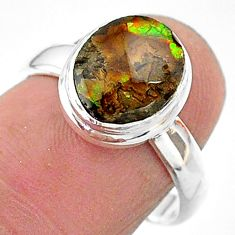 4.08cts solitaire natural ammolite (canadian) 925 silver ring size 7 t18864
