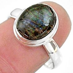 4.67cts solitaire natural ammolite (canadian) 925 silver ring size 8 t18849