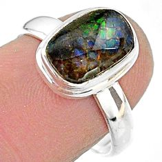 4.28cts solitaire natural ammolite (canadian) 925 silver ring size 7.5 t18843