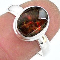 4.34cts solitaire natural ammolite (canadian) 925 silver ring size 7.5 t18979