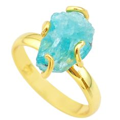 6.70cts solitaire natural apatite rough 925 silver 14k gold ring size 9 t36871