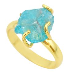 6.70cts solitaire natural apatite rough 925 silver 14k gold ring size 9 t36874