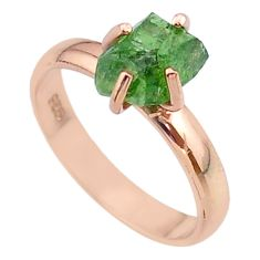 4.23cts solitaire natural apatite rough 925 silver rose gold ring size 8 t36841