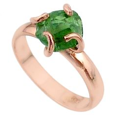 4.56cts solitaire natural apatite rough silver 14k rose gold ring size 7 t36842