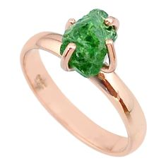 4.23cts solitaire natural apatite rough silver 14k rose gold ring size 8 t36845