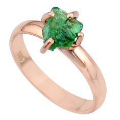 4.56cts solitaire natural apatite rough silver 14k rose gold ring size 9 t36843