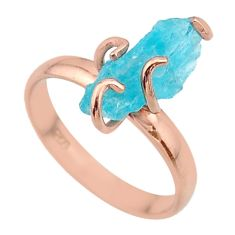 5.84cts solitaire natural apatite rough silver 14k rose gold ring size 9 t36848