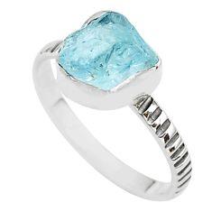 4.24cts solitaire natural aqua aquamarine raw 925 silver ring size 10 t35468