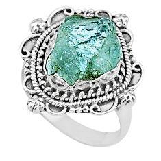 5.58cts solitaire natural aqua aquamarine raw 925 silver ring size 8.5 t17538