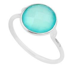 4.97cts solitaire natural aqua chalcedony 925 silver ring size 8.5 t50682