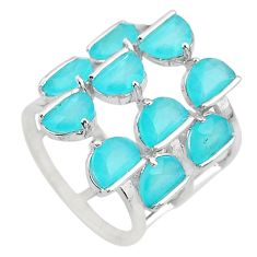 7.07cts solitaire natural aqua chalcedony 925 sterling silver ring size 6 t10375