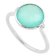 5.02cts solitaire natural aqua chalcedony round 925 silver ring size 8.5 t50705