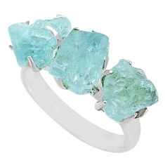 9.83cts solitaire natural aquamarine raw 3 stone silver ring size 7 t7087