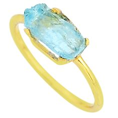 3.50cts solitaire natural aquamarine raw 14k gold handmade ring size 8 t7507