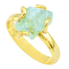 5.96cts solitaire natural aquamarine rough 925 silver gold ring size 9 t36917