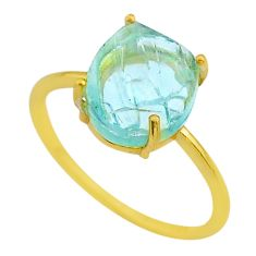 4.83cts solitaire natural aquamarine raw silver 14k gold ring size 11 t33161