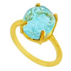 4.50cts solitaire natural aquamarine raw silver 14k gold ring size 6 t33164