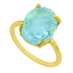 4.83cts solitaire natural aquamarine raw silver 14k gold ring size 6 t33166