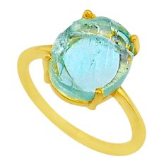 4.91cts solitaire natural aquamarine raw silver 14k gold ring size 7 t33168