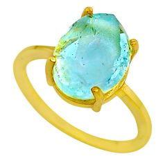5.22cts solitaire natural aquamarine raw silver 14k gold ring size 8 t33163