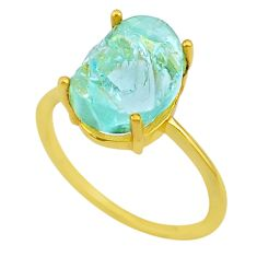 5.15cts solitaire natural aquamarine raw silver 14k gold ring size 9 t33141