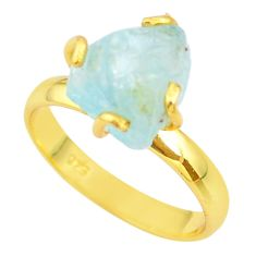 5.63cts solitaire natural aquamarine rough silver 14k gold ring size 9 t36914