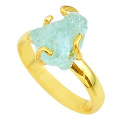 5.63cts solitaire natural aquamarine rough silver 14k gold ring size 9 t36918
