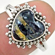 5.42cts solitaire natural black australian obsidian silver ring size 8 t41628