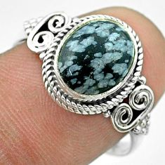 4.19cts solitaire natural black australian obsidian silver ring size 8 t57495
