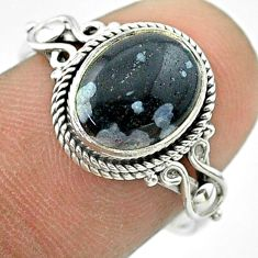 4.09cts solitaire natural black australian obsidian silver ring size 7.5 t57450