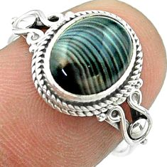 4.16cts solitaire natural black botswana agate 925 silver ring size 7 t57462