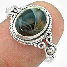 4.18cts solitaire natural black botswana agate 925 silver ring size 8 t57468