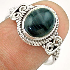 4.42cts solitaire natural black botswana agate 925 silver ring size 8 t57475