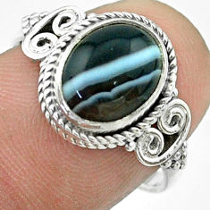 3.91cts solitaire natural black botswana agate 925 silver ring size 7.5 t57491