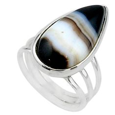 14.65cts solitaire natural black botswana agate pear silver ring size 7 t15472