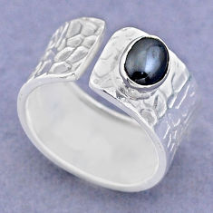 1.46cts solitaire natural black hematite silver adjustable ring size 7 t47349