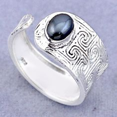 1.47cts solitaire natural black hematite silver adjustable ring size 8 t47424