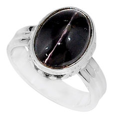 5.12cts solitaire natural black obsidian eye oval silver ring size 6.5 t15439
