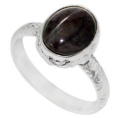 4.07cts solitaire natural black obsidian eye oval silver ring size 7.5 t15480