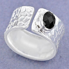 1.47cts solitaire natural black onyx 925 silver adjustable ring size 7 t47343