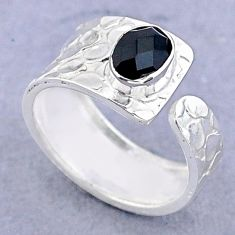 1.51cts solitaire natural black onyx 925 silver adjustable ring size 7 t47450