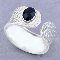 1.46cts solitaire natural black onyx 925 silver adjustable ring size 8.5 t47372