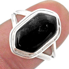 Clearance Sale- 5.53cts solitaire natural black onyx 925 silver hexagon ring size 7 t48515