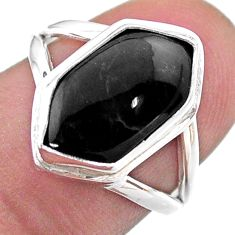 5.82cts solitaire natural black onyx 925 silver hexagon ring size 7 t48517