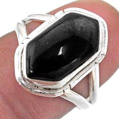 Clearance Sale- 5.53cts solitaire natural black onyx 925 silver hexagon ring size 7 t48518