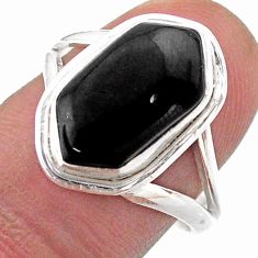 Clearance Sale- 5.82cts solitaire natural black onyx 925 silver hexagon ring size 8.5 t48520